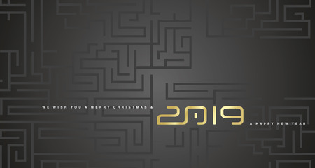 Merry Christmas and Happy New Year 2019 gold cyberspace abstract labyrinth black background