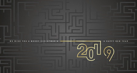 Merry Christmas and Happy New Year 2019 gold cyberspace technology abstract labyrinth black background