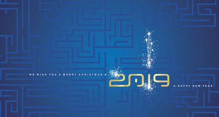 Merry Christmas and Happy New Year 2019 gold sparkle cyberspace abstract labyrinth blue background