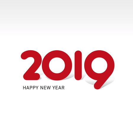 Happy New Year 2019 creative typography red logo icon Çizim