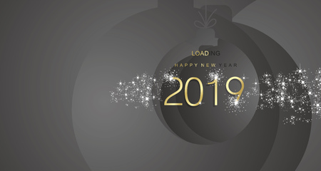 Happy New Year 2019 firework gold black abstract ball landscape background Çizim