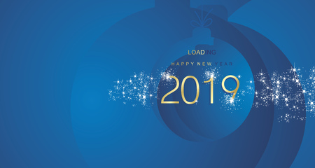 Happy New Year 2019 firework gold blue abstract ball landscape background