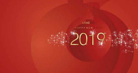 Happy New Year 2019 firework gold red abstract ball landscape background