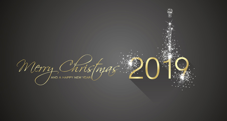 Merry Christmas beautiful calligraphy New Year 2019 firework gold white black greeting card Çizim