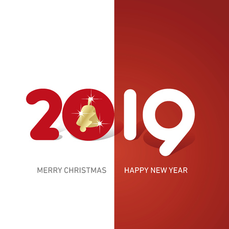 Merry Christmas Happy New Year 2019 Christmas bell cute creative typography red white logo icon banner