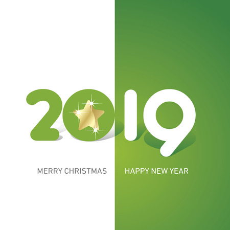 Merry Christmas Happy New Year 2019 Christmas star cute creative typography green white logo icon banner Çizim