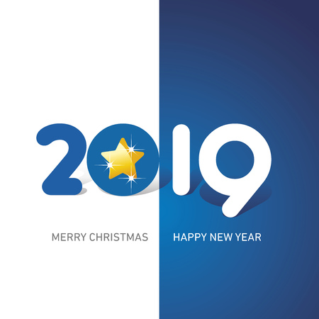Merry Christmas Happy New Year 2019 Christmas star cute creative typography blue white logo icon banner