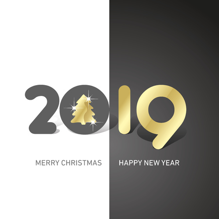 Merry Christmas Happy New Year 2019 Christmas tree cute creative typography black white logo icon banner