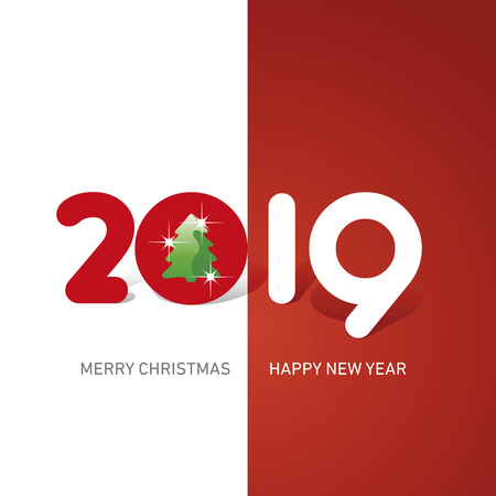 Merry Christmas Happy New Year 2019 Christmas tree cute creative typography red white logo icon banner