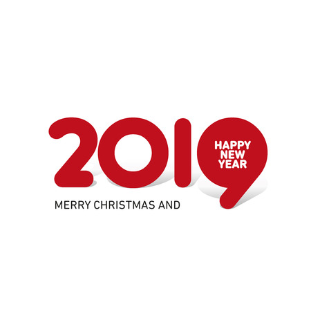 Merry Christmas Happy New Year 2019 creative typography red logo icon