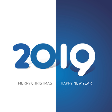 Merry Christmas Happy New Year 2019 cute creative typography blue white logo icon banner