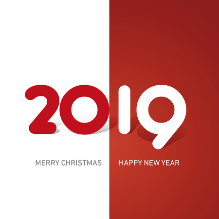 Merry Christmas Happy New Year 2019 cute creative typography red white logo icon banner Çizim