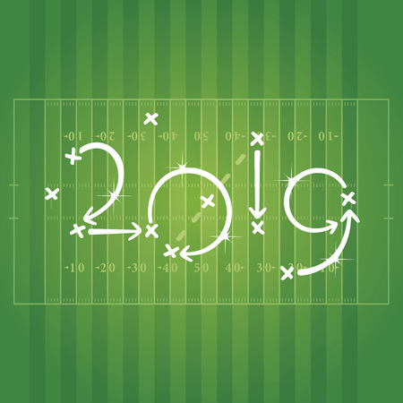 New Year 2019 American Football strategy goal green background