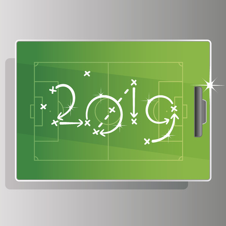 New Year 2019 Soccer strategy goal green board field background