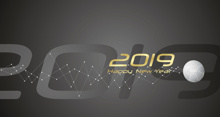 New Year Sport 2019 cyberspace network line design black abstract background