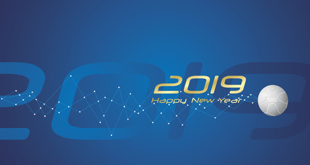 New Year Sport 2019 cyberspace network line design blue abstract background