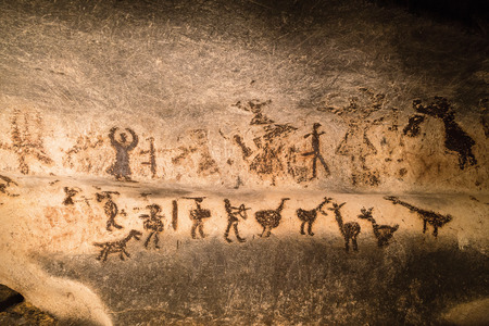 cave: Beautiful cave paintings dating from the late Neolithic, Epipaleolithic and early Bronze Age. The Magura cave in Bulgaria.