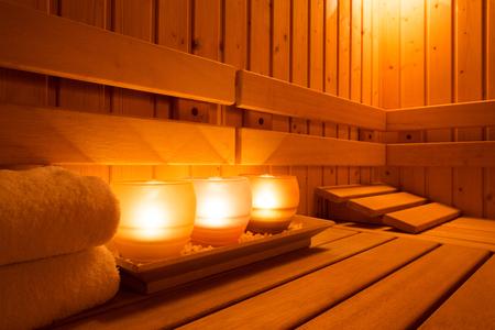 bed room: Interior of a wooden finnish sauna. Editorial