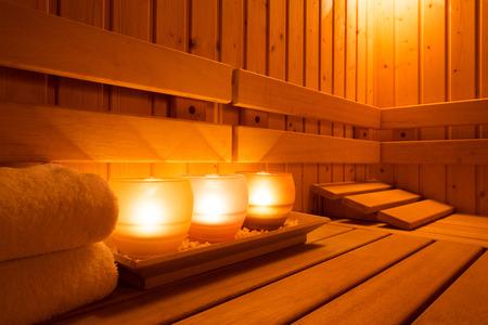 Interior of a wooden finnish sauna. Stock fotó