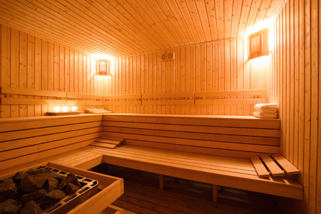planking: Interior of a wooden finnish sauna. Stock Photo