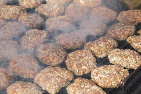 balkan peninsula: Meatballs on grill. Traditional food for the Balkan Peninsula.