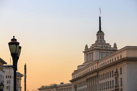 불가리아, 소피아 행정 센터 건물. 이 분야에는 대통령직, 각료회의 및 불가리아 국립 은행이 있습니다. 스톡 콘텐츠