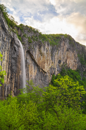 balkan peninsula: Skaklya is the highest waterfall on Balkan Peninsula - 141 meters. Skaklya is intermittent flowing waterfall - only during snow melt in spring and rains. Located nearly the town of Vratsa, Bulgaria. Stock Photo
