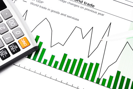ballpen: GDP and data report - chart, calculator and ball-pen Stock Photo