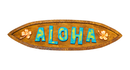 Aloha wooden sign on a white background. Path included. Foto de archivo