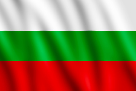 undulating: Bulgarian National Flag waving in the wind giving an undulating texture of folds in the fabric.
