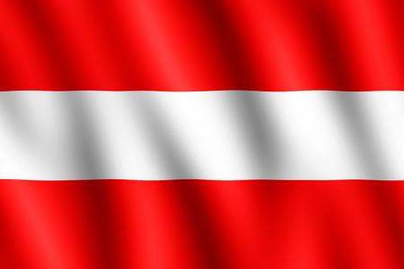 패브릭에 폴딩의 물결 모양 질감을주는 바람에 물결 치는 오스트리아의 국기. 이미지는 플래그의 공식 비율 - 2 : 3에 있습니다.