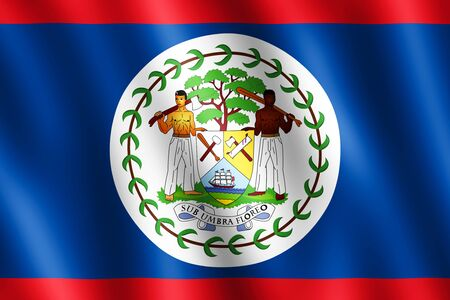 undulating: Flag of Belize waving in the wind giving an undulating texture of folds in the fabric. The Image is in the official ratio of the flag - 2:3. Stock Photo