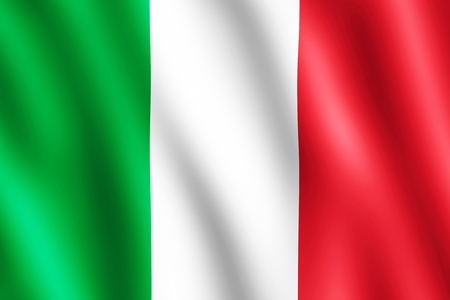 undulating: Flag of Italy waving in the wind giving an undulating texture of folds in the fabric. The Image is in the official ratio of the flag - 2:3. Stock Photo