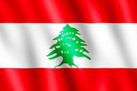 beirut: Flag of Lebanon waving in the wind giving an undulating texture of folds in the fabric. The Image is in the official ratio of the flag - 2:3. Stock Photo