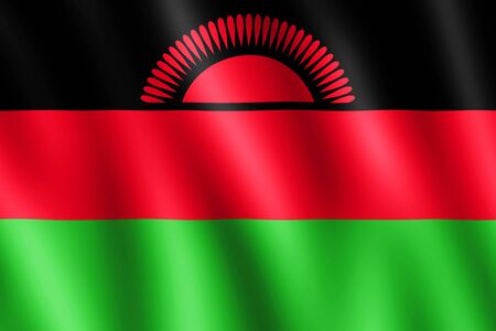 malawian flag: Flag of Malawi waving in the wind giving an undulating texture of folds in the fabric. The Image is in the official ratio of the flag - 2:3.