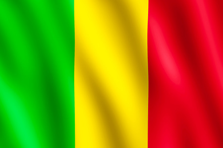 bamako: Flag of Mali waving in the wind giving an undulating texture of folds in the fabric. The Image is in the official ratio of the flag - 2:3. Stock Photo