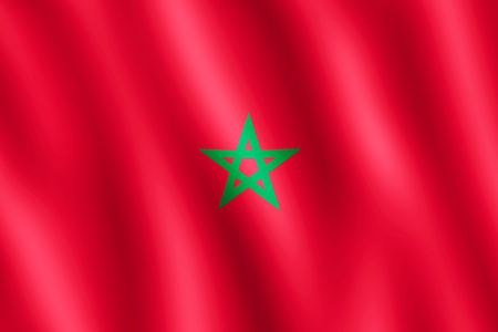undulating: Flag of Morocco waving in the wind giving an undulating texture of folds in the fabric. The Image is in the official ratio of the flag - 2:3.