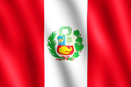 republic of peru: Flag of Peru waving in the wind giving an undulating texture of folds in the fabric. The Image is in the official ratio of the flag - 2:3. Stock Photo