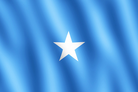 somalian flag: Flag of Somalia waving in the wind giving an undulating texture of folds in the fabric. The Image is in the official ratio of the flag - 2:3. Stock Photo