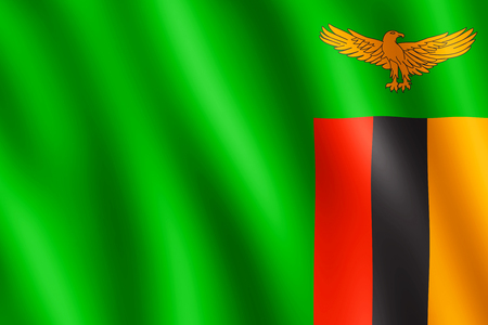 zambian flag: Flag of Zambia waving in the wind giving an undulating texture of folds in the fabric. The Image is in the official ratio of the flag - 2:3.