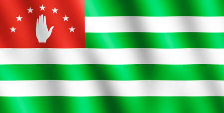 sukhumi: Flag of Abkhazia waving in the wind giving an undulating texture of folds in the fabric. The Image is in the official ratio of the flag - 1:2.