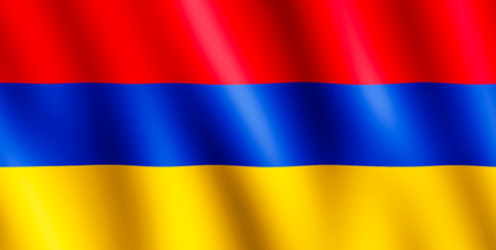 undulating: Flag of Armenia waving in the wind giving an undulating texture of folds in the fabric. The Image is in the official ratio of the flag - 1:2. Stock Photo
