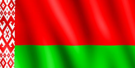 undulating: Flag of Belarus waving in the wind giving an undulating texture of folds in the fabric. The Image is in the official ratio of the flag - 1:2. Stock Photo