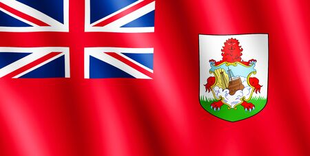 reb: Flag of Bermuda waving in the wind giving an undulating texture of folds in the fabric. The Image is in the official ratio of the flag - 1:2.