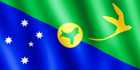 undulating: Flag of Christmas Island waving in the wind giving an undulating texture of folds in the fabric. The Image is in the official ratio of the flag - 1:2.