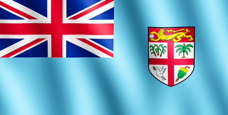 fijian: Flag of Fiji waving in the wind giving an undulating texture of folds in the fabric. The Image is in the official ratio of the flag - 1:2.