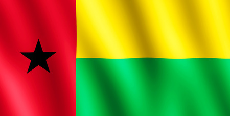 undulating: Flag of Guinea-Bissau waving in the wind giving an undulating texture of folds in the fabric. The Image is in the official ratio of the flag - 1:2.