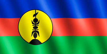 undulating: Flag of New Caledonia waving in the wind giving an undulating texture of folds in the fabric. Stock Photo