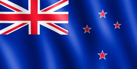 undulating: Flag of New Zealand waving in the wind giving an undulating texture of folds in the fabric. .