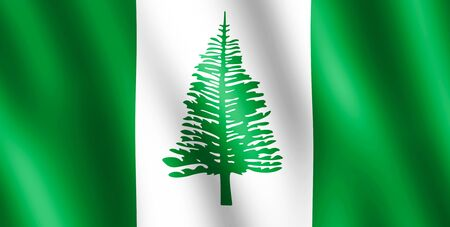 undulating: Flag of Norfolk Island waving in the wind giving an undulating texture of folds in the fabric.